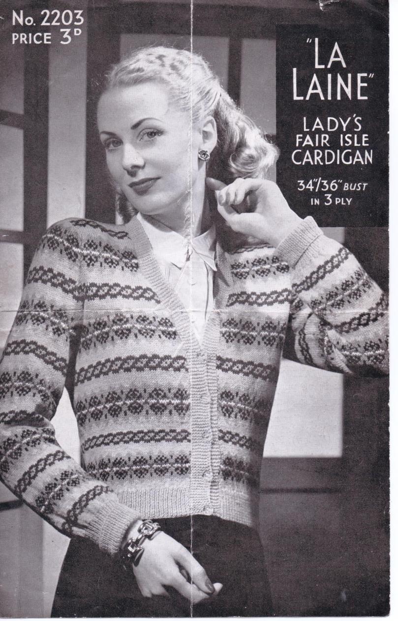 Free Vintage Knitting Patterns 1940s : The Vintage Pattern Files: 1940s Knitting - La Laine Fair Isle Cardigan