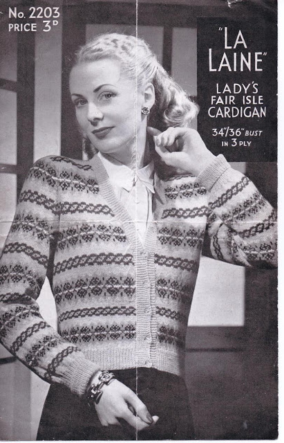 The Vintage Pattern Files: Free 1940s Knitting Pattern - La Laine Fair Isle Cardigan