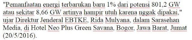 Wuih Ternyata Negara Kesatuan Republik Indonesia Mempunyai Potensi Energi Terbarukan 801,2 GW Namun Sayangnya Baru Dimanfaatkan 1% - Commando  http://www.c0mando.com/2016/05/indonesia-punya-potensi-kembangkan.html