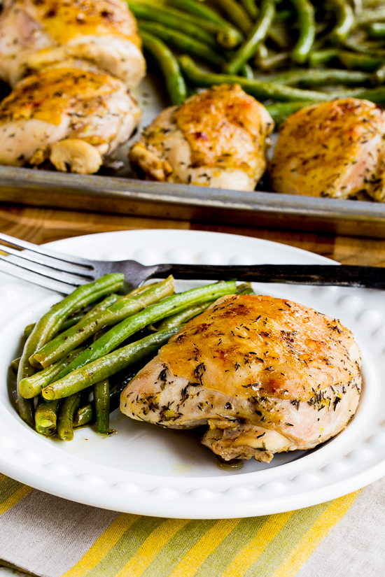Roasted Lemon Chicken and Green Beans Sheet Pan Meal [found on KalynsKitchen.com]
