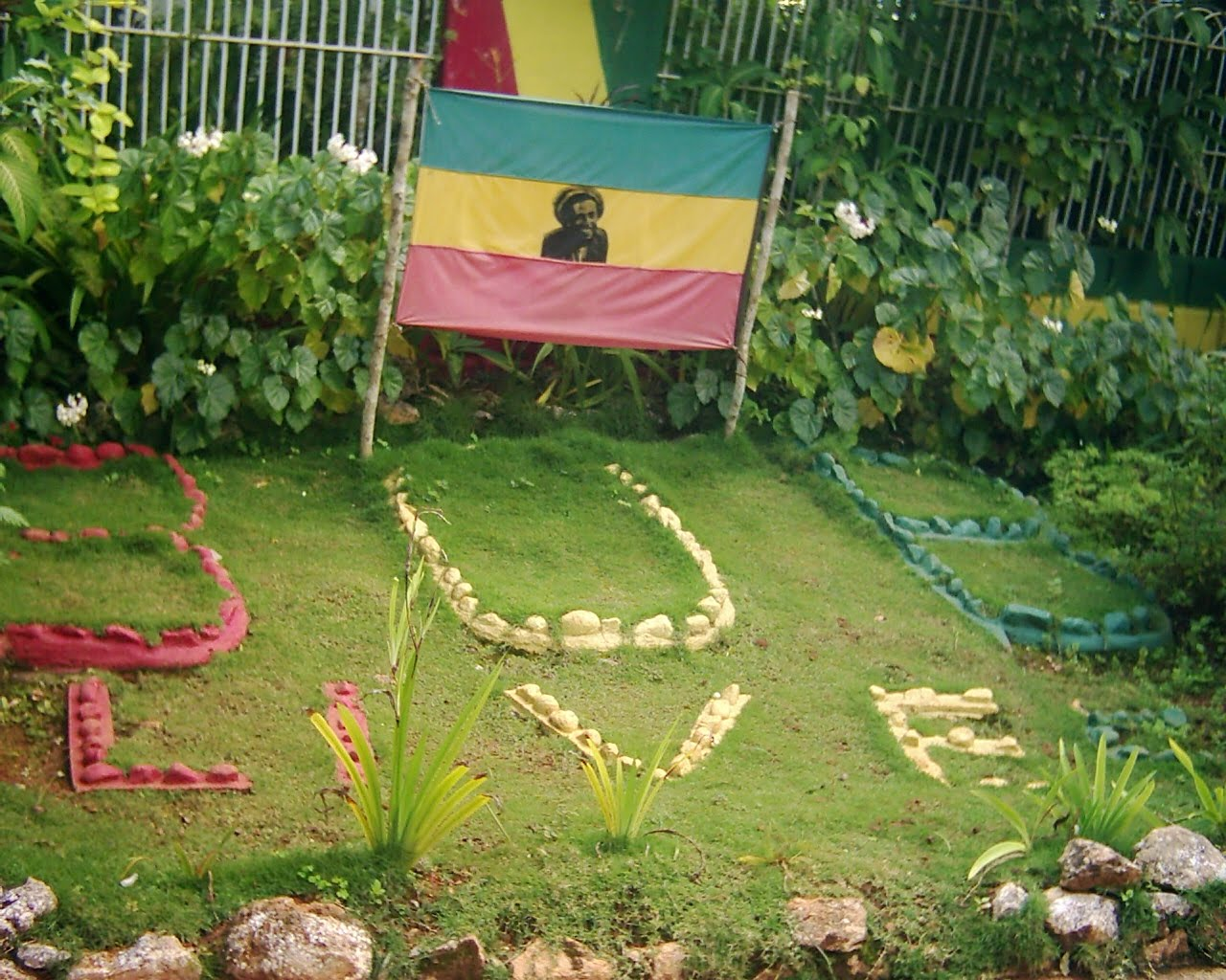 Garden tribute to Bob Marley at his compound in Nine Mile St Anns    Bob Marley Garden