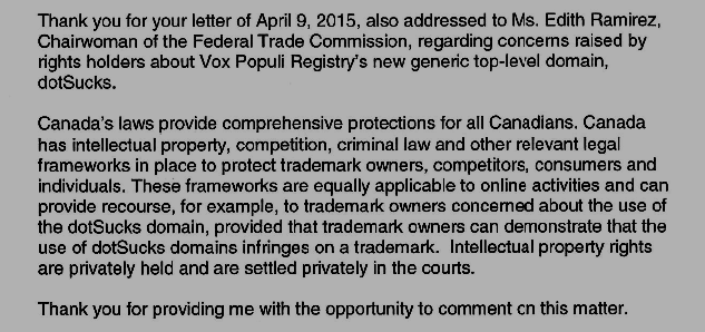 graphic: Canada's Letter Responding to ICANN re: dotSUCKS