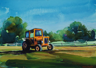 Acrylic painting of a tractor at knox farms in East Aurora New York