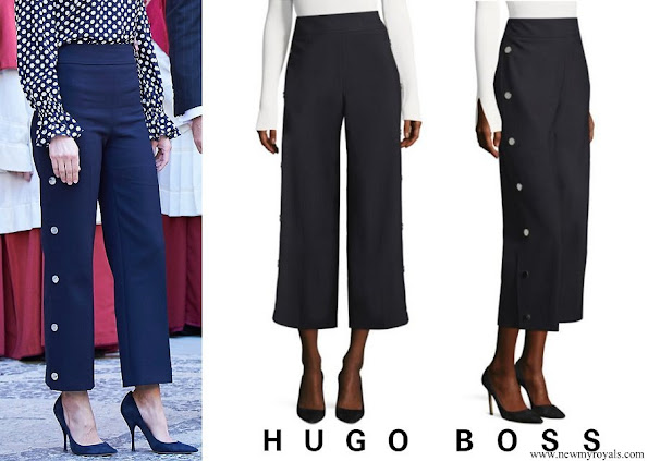 Queen Letizia wore a Hugo Boss High Waist Wide Leg Trousers