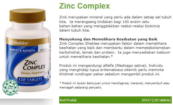 Manfaat mineral Zinc semulajadi Shaklee