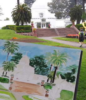 Watercolor Painting of San Francisco Conservatory Of Flowers Golden Gate Park