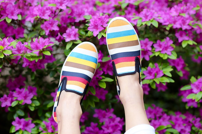SeeVees Long Beach Bash Slip on Sneaker in Bright Stripes, how to wear multi color stripe slip on, titi city stretch culottes,  Theory Kalsing D Top, nyc street style, spring outfit ideas, chanel classic flap bag, quay sunglasses