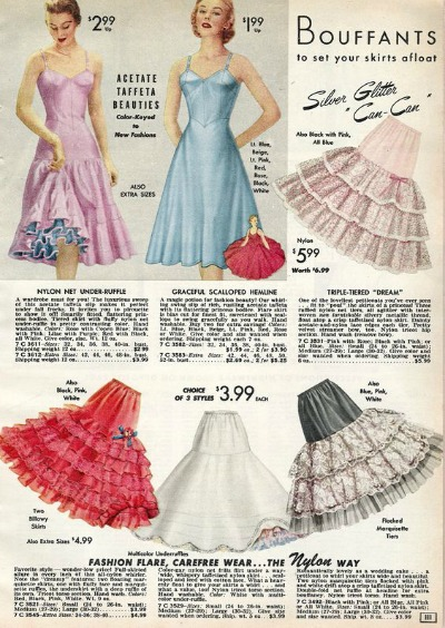 Catalog Ad for multiple 1950's bouffant types petticoats
