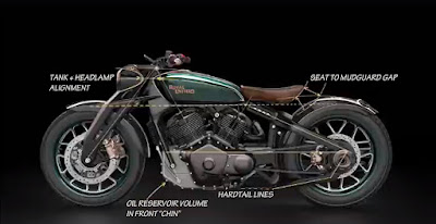 Image of motorcycle labelled with design highlights.