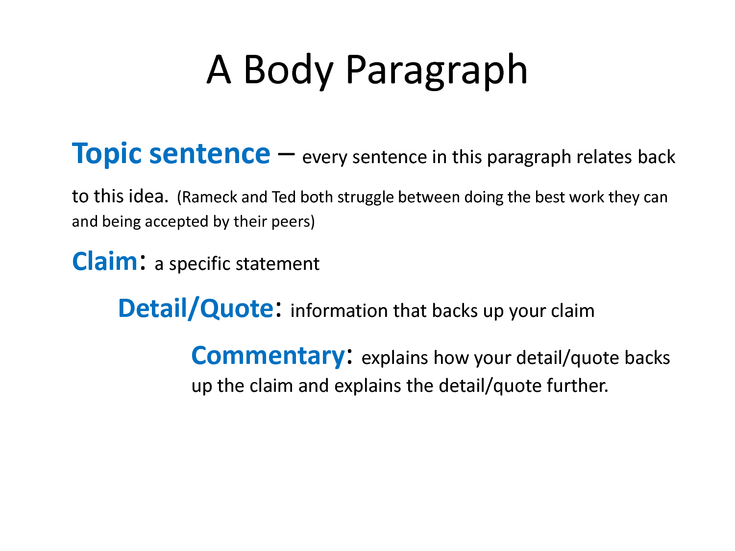 a body paragraph is any paragraph The term body paragraph refers to any how that follows the introduction and comes before the conclusion the five-paragraph essay the majority of any essay consists of multiple body paragraphs, and it is in these paragraphs where the main information is presented the longer an essay is, the more body paragraphs there will be.