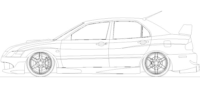 Mitsubishi Evo Coloring Pages