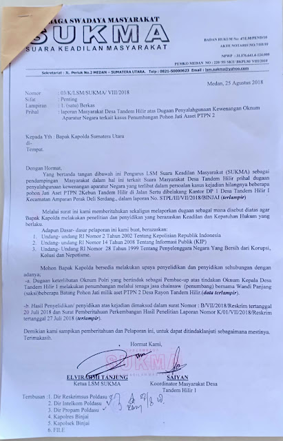 Dampingi Warga, LSM SUKMA Adukan Kapolsek Binjai Ke Kapolda Sumut..