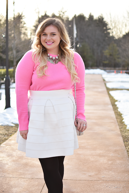 Valentine's Date Night Look Pink J.Crew Holly Sweater Bandage Skirt Hue Leggings Target Merona Black Pumps Baublebar Necklace ombre blonde hair natural makeup look new england style boston blogger style fashion blogger