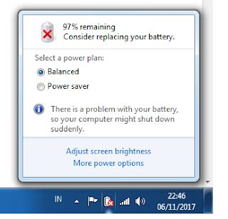 baterai laptop ada tanda silang