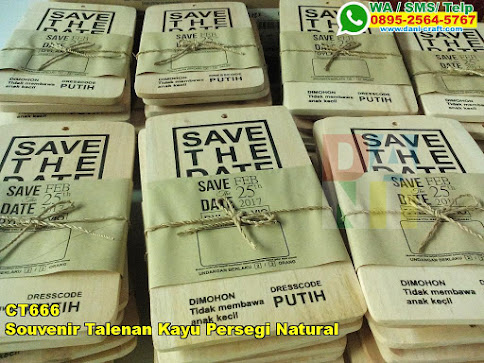 Souvenir Talenan Kayu Persegi Natural