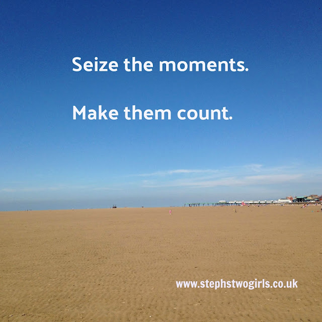 picture of beach with text overlay seize the moment