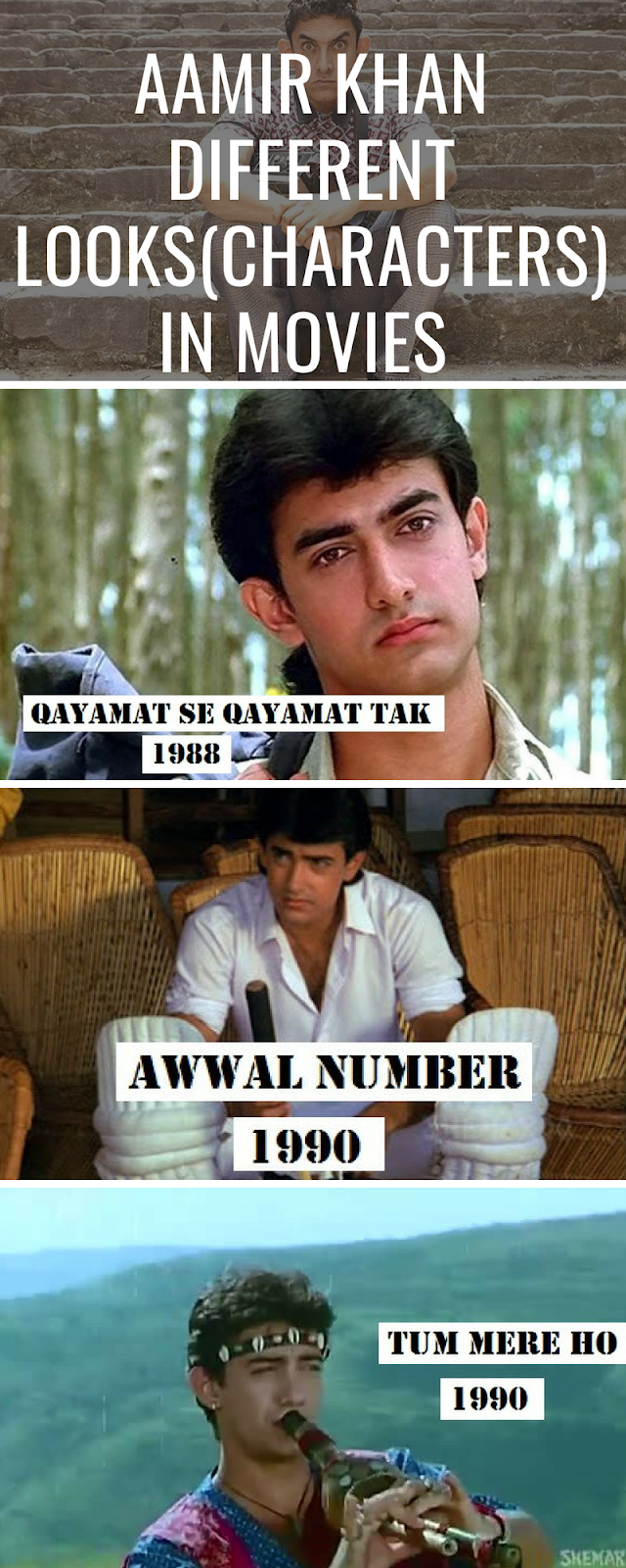 Aamir different looks in movies (infographic)