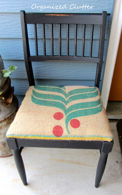 Upcycled Garage Sale Chair with Coffee Sack Seat