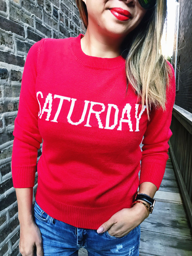 Saturday Sweater, Days of the week sweater, how to style a Saturday Sweater