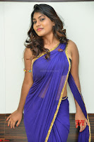 Actress Priya in Blue Saree and Sleevelss Choli at Javed Habib Salon launch ~  Exclusive Galleries 040.jpg