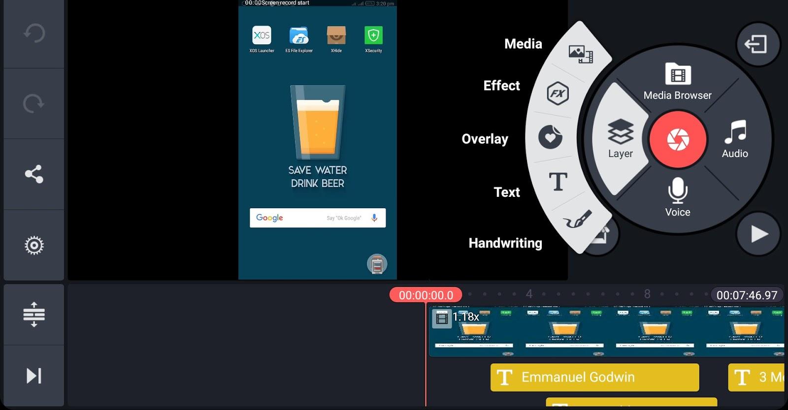 Kinesmaster video editor interface 01