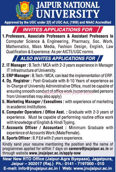 Jaipur National University, Rajasthan, Wanted Teaching Faculty Plus