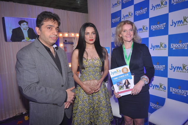 Gaurav Marya_ Chairman_  Franchise India with Actor Celina Jaitley and Anne Marie, Co-owner at the Launch of JYMKA at  Franchise India, Delhi