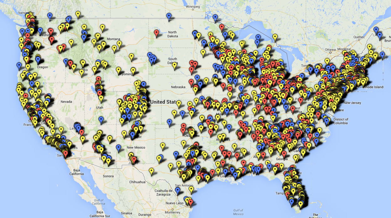 Map of solar companies across the U.S. - installers, contractors and businesses related to solar.