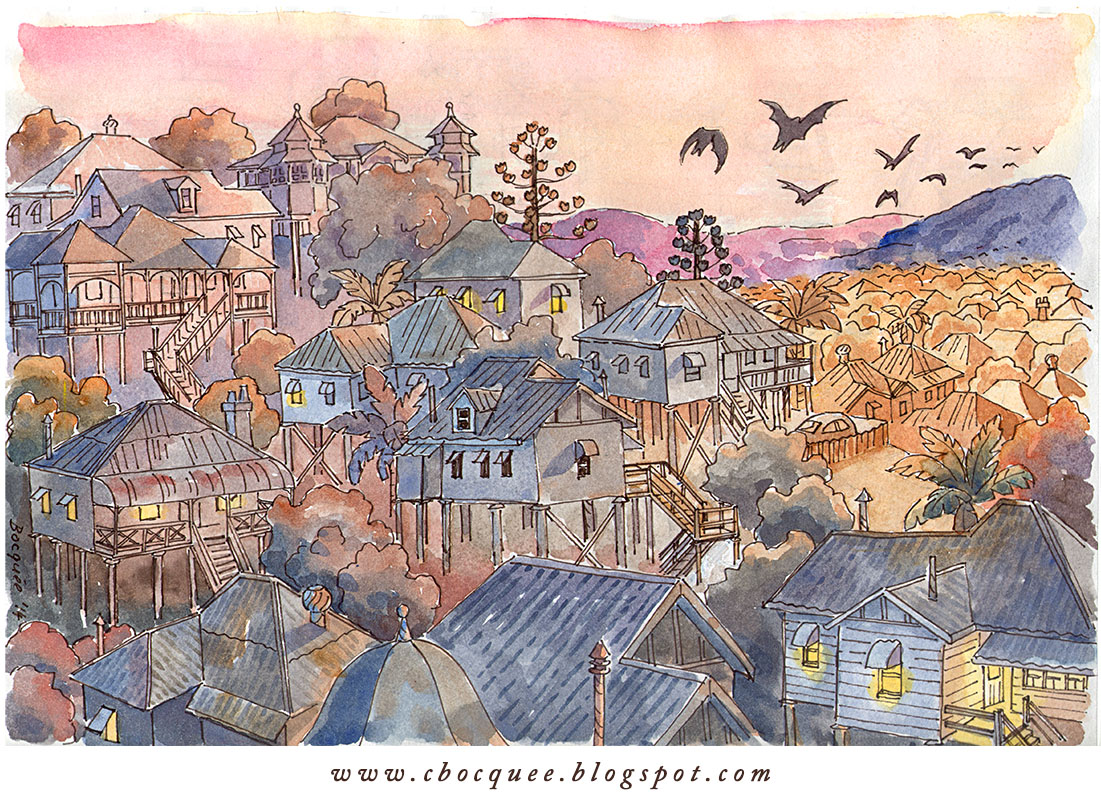 Pen and watercolor wash drawing of Brisbane as dusk, with flying fruit bats overhead, and old style Queenslander houses.