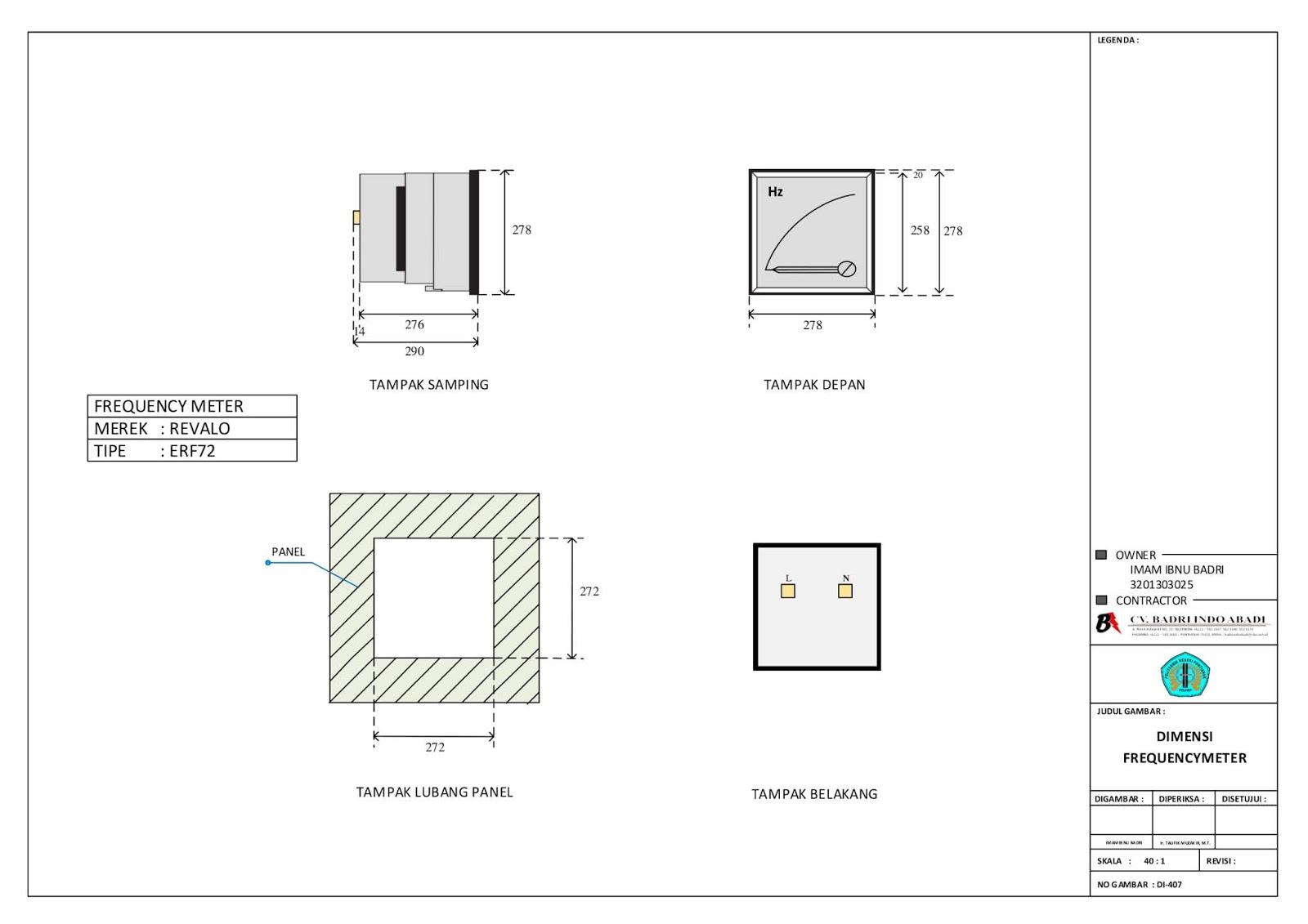 Gambar Dimensi Frequency Meter