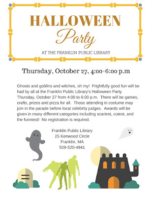 Franklin Public Library will hold a Halloween party on Thursday, Oct 27