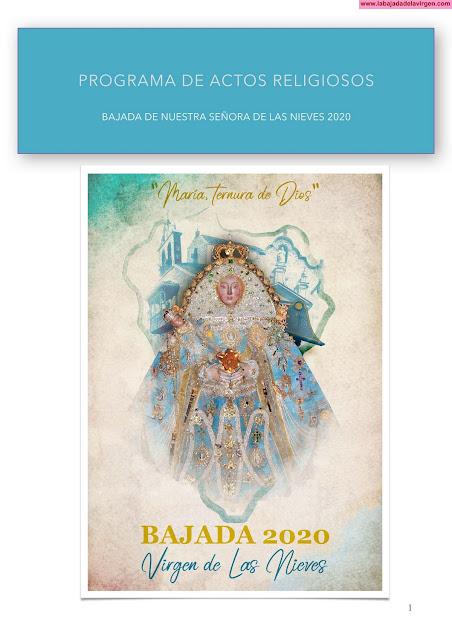 Programa de Actos Religiosos de La Bajada de La Virgen de Las Nieves 2020 - Isla de La Palma - Islas Canarias