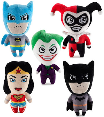 DC Comics Phunny Series 1 Plush Figures by Kidrobot - Classic Blue & Grey Suit Batman, Harley Quinn, The Joker, Wonder Woman & Modern Black Suit Batman
