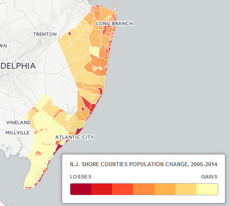 New Jersey shore population change
