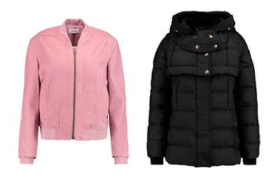 Розовый бомбер и черная куртка с капюшоном