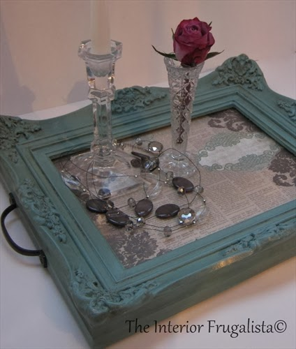 Thrift store picture frame painted and turned into a tray