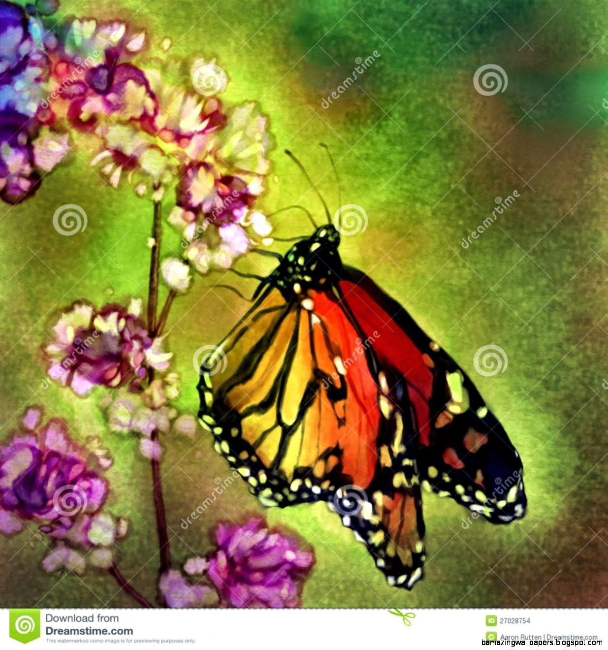 Flowers And Butterflies Paintings | Amazing Wallpapers