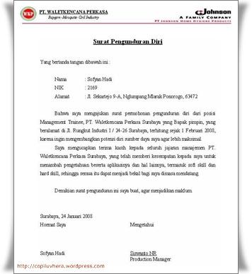 Contoh Surat Pengunduran Diri Dalam Bahasa Inggris Contoh Two