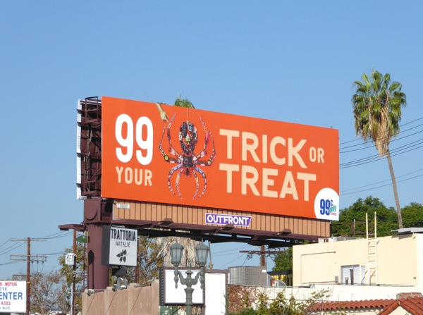 99c spider Trick or Treat Halloween billboard