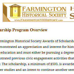 Do You Know About Our #FarmingtonNH Historical Society Scholarship Program?