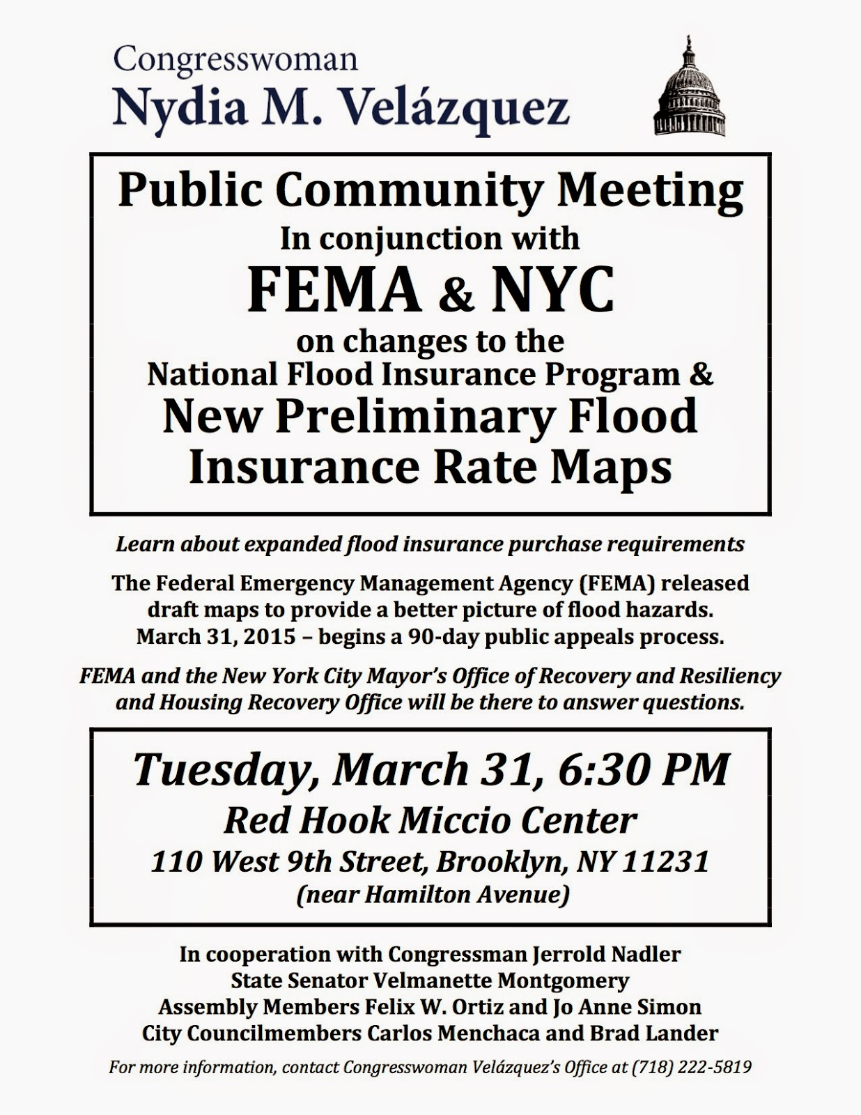 Fema Flood Insurance Quote Pardon Me For Asking Congresswoman Velázquez To Hold Fema Flood