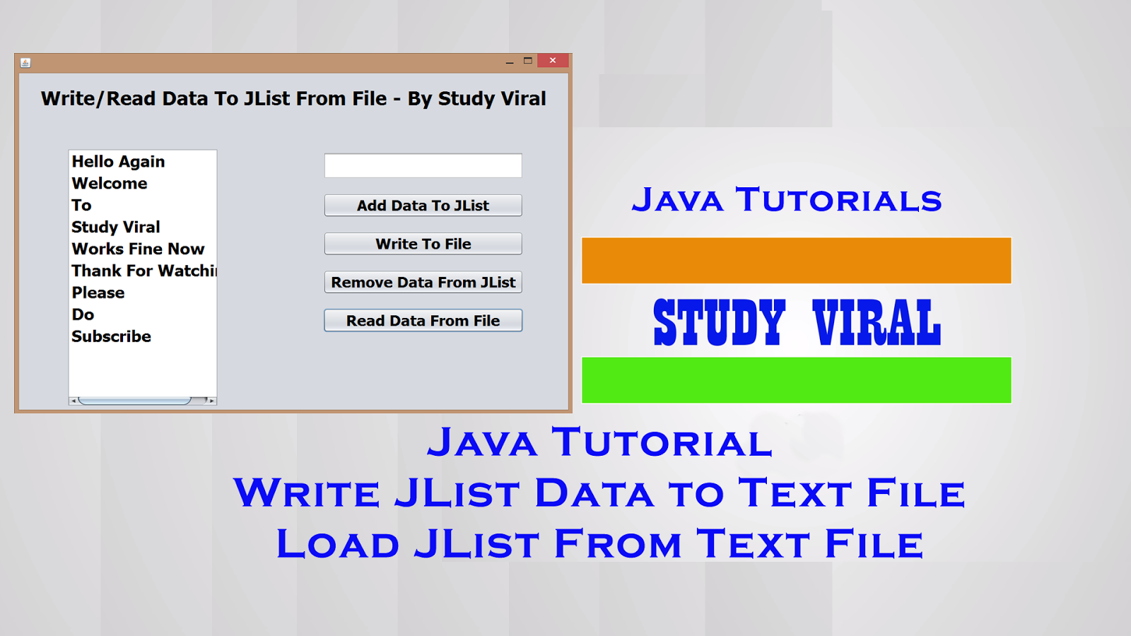 Java Swing Tutorials (GUI) - Read and Write JList with Text