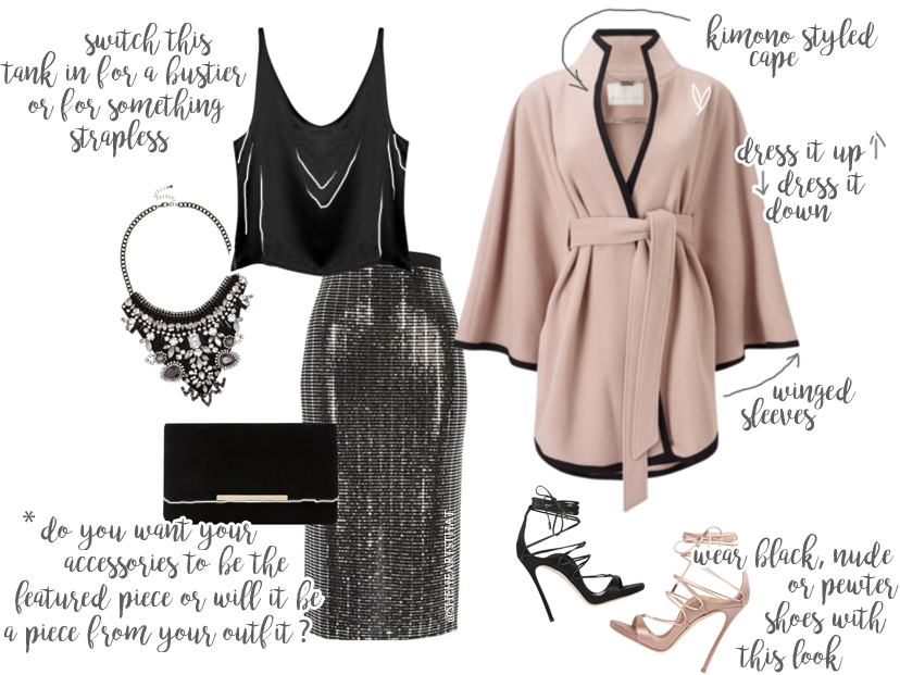 Step out in the gorgeous outfit this holiday, featuring this Nude Cape and Metallic Pencil Skirt. @sheheartsthat