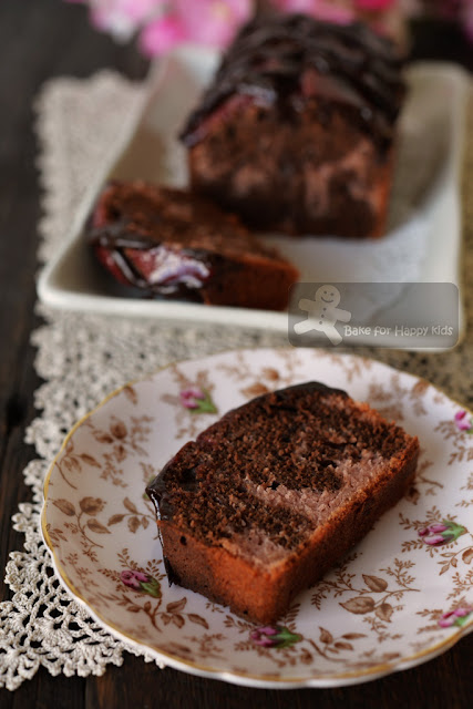 chocolate raspberry marble pound cake with chocolate-raspberry glaze