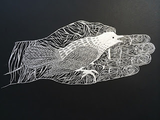 Green Pear Diaries, arte, papercutting, corte de papel, Maude White, Brave Bird Paper Art