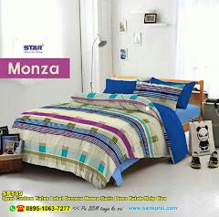 Sprei Custom Katun Lokal Dewasa Monza Garis Linen Kotak Strip Biru