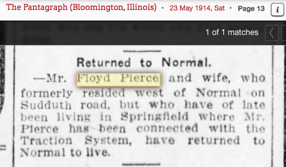 1914 Floyd Pierce and Edith Pierce return to Normal Illinois