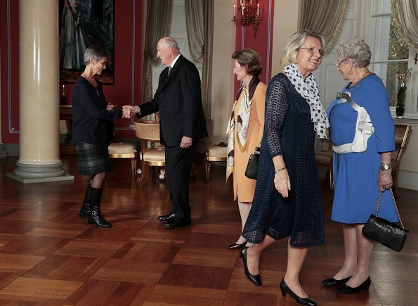 King Harald, Queen Sonja and Princess Astrid hosted an Afternoon Tea Party for elderly workers at Royal Palace