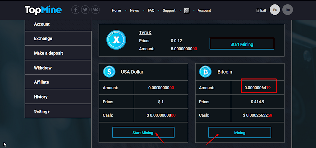 Dapatkan Dolar dan Bitcoin gratis dari Topmine