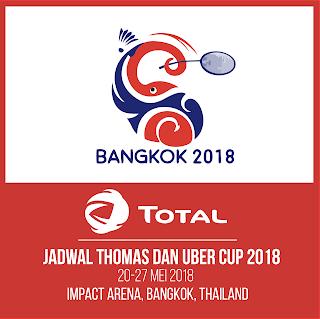Jadwal Thomas dan Uber Cup 2018